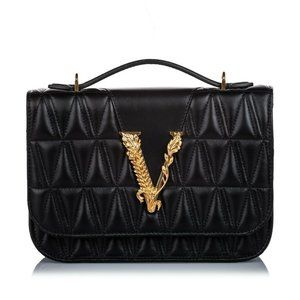 Versace Authentic Virtus Quilted Leather Bag Med.